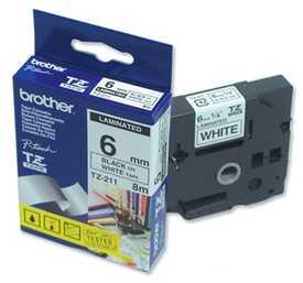 Brother - Brother TZ-211 Beyaz Üzerine Siyah Etiket Şeridi (6mm)