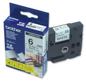 Brother TZ-211 Beyaz Üzerine Siyah Etiket Şeridi (6mm)