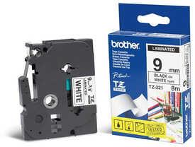 Brother - Brother TZ-221 Siyah Üzerine Beyaz Etiket Şeridi (9mm)