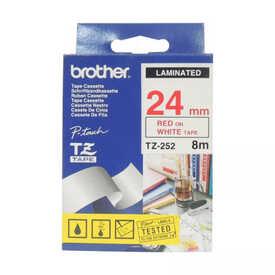 Brother - Brother TZ-252 (24MM) Kırmızı Lamine Etiket