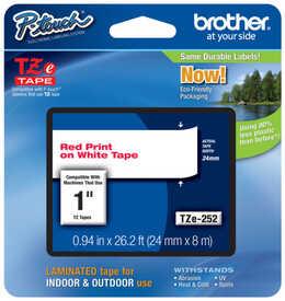 Brother - Brother TZE-252 Kırmızı Lamine Etiket (24mm)