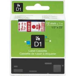 Dymo - Dymo 45012 Şeffaf Üzerine Kırmızı Muadil Etiket