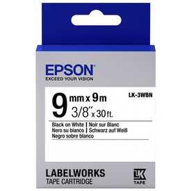 Epson - Epson LK-3WBN Standart Siyah Üzeri Beyaz 9MM 9Metre Etiket