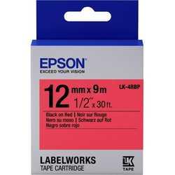 Epson - Epson LK-4RBP Kırmızı Üzerine Siyah Orjinal Etiket