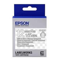 Epson - Epson LK-4TWN Transparan Üzerine Beyaz Orjinal Etiket