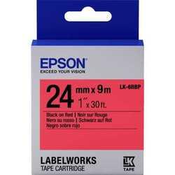 Epson - Epson LK-6RBP Kırmızı Üzerine Siyah Orjinal Etiket